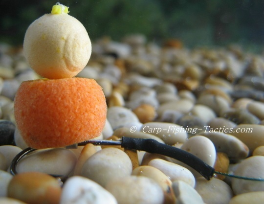 Snowman carp rig with buoyant boilies so it goes into mouth easier