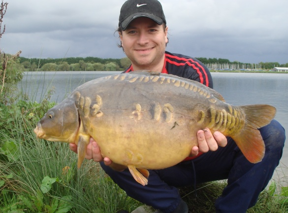 A nice mirror carp caught from Bradleys weighing over 17 pounds
